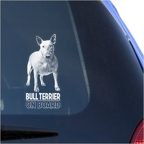 Bull Terrier Clear Vinyl Decal Sticker for Window, English Bully Dog Sign Art Print