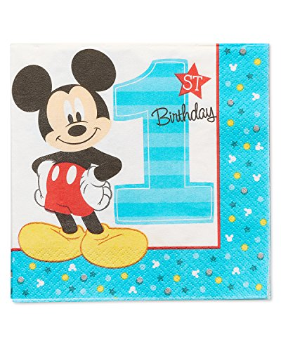 American Greetings Mickey Mouse 1st Birthday Lunch Napkins (16 Count) 1st Birthday Lunch Napkins