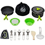 CampingRockers 15PCs Camping Cookware Mess Kit - Durable...