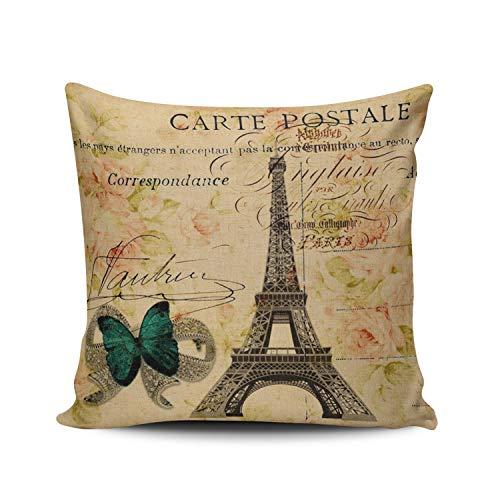 XIUBA Throw Pillow Covers Case Coloured Handwriting Paris Eiffel Tower French Provincial Decorative Pillowcase Cushion Cover 26 x 26 Inch European Size One Side Design Printed