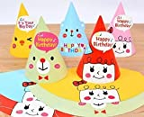 UChic 8PCS Hot Sales Cartoon Pattern Colorful Cute Birthday Party Cap Hat Pointed Hats Dress Up For Adult Girls Boys Party Festival Celebration Decorations Mix Pattern