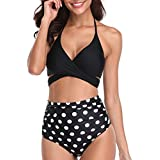 BeachQueen Women Retro Two Piece Padded Push up Bandage Halter Bikini Set High Waisted Polka Dot Ruched Swimsuits Swimwear