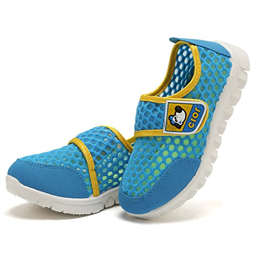 CIOR Kid's Mesh Lightweight Sneakers Baby Breathable Slip-on For Boy and Girl's Running Beach Shoes(Toddler/Little Kid),Blue01,29 6