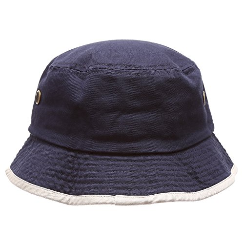 Summer Adventure Foldable 100% cotton stone-washed bucket hat with trim.(Navy-Putty-LXL) (Women Blue Bucket Hats)