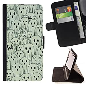 Jordan Colourful Shop - white black spooky Halloween For Apple Iphone 4 / 4S - Leather Case Absorci???¡¯???€????€?????????