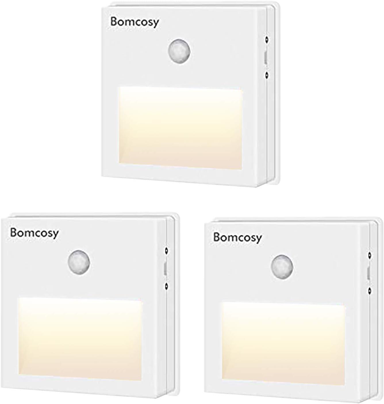Bomcosy Luz Nocturna LED con Sensor Movimiento sin Cable Encendido/Apagado/Auto Lámpara de Noche USB Recargable Blanco Cálido 3000k para Dormitorio Habitación Garaje Baño Cocina Pasillo 3 Piezas