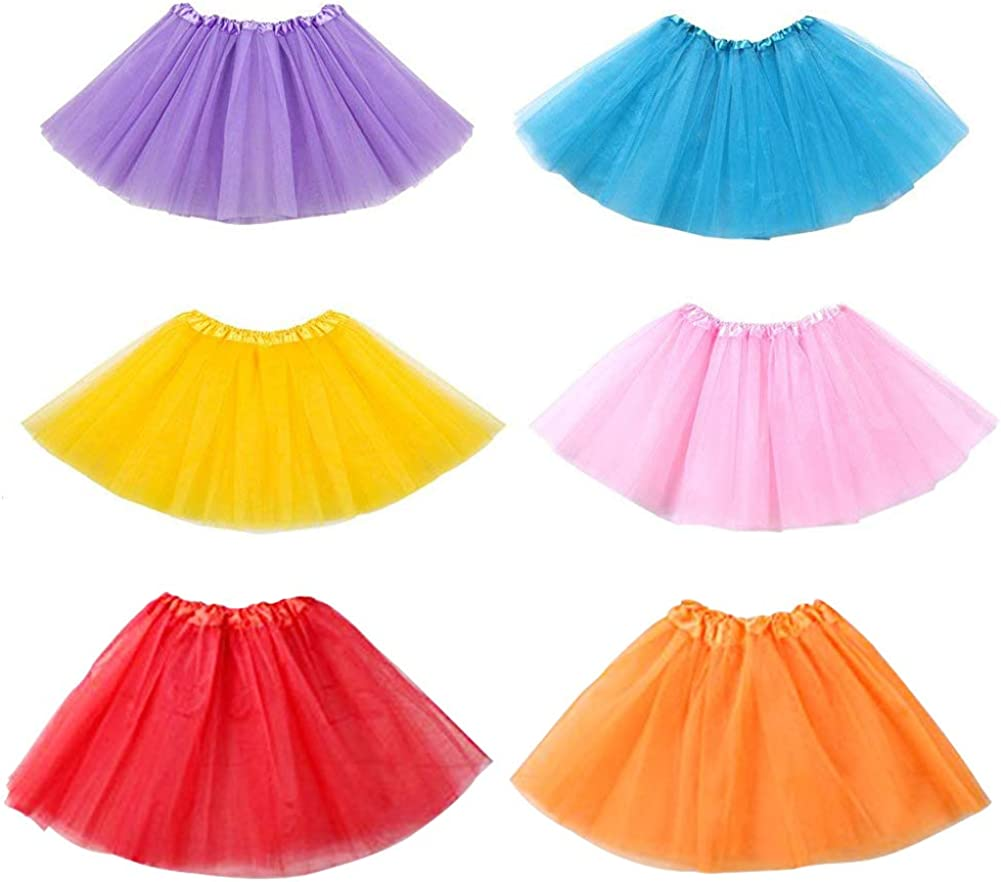 Koogel 6 PCS Tutu for Toddler Girls, 3-Layer Multicolor Tutu Skirts Ballet Tutu Dress Up Tutu Kids Party Tutu for Dress Up The Game Birthday Party Halloween Costume