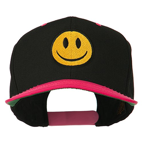 (E4hats Smiley Face Embroidered Two Tone Cap - Black Pink OSFM)