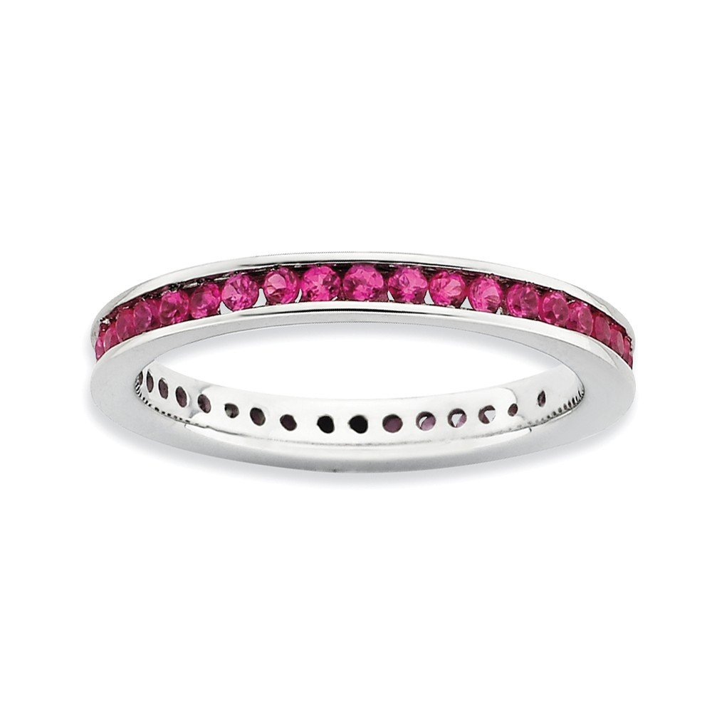 Top 10 Jewelry Gift Sterling Silver Stackable Expressions Polished Created Ruby Ring