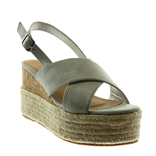 Intrecciato 9 alla Chiaro Corda Donna Scarpe Cinturino Moda Tacco Angkorly Sandali Grigio Zeppa Mules 5 con cm Tanga Piattaforma Caviglia Zeppe PxpCqfa