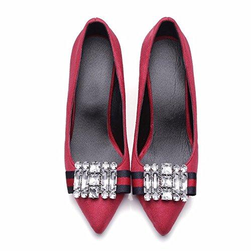 Tacones de diamantes, grandes patios, zapatos de mujer, señaló los talones, elegancia retro, zapatos de mujer gules