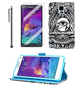TheLovelyBird PU Leather Folio Stand Case for Samsung Galaxy Note 4 + Stylus Pen + Screen Protector in Retail Packaging (Eyes)