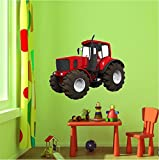 "36"" Red Farm Tractor #1 Wall Sticker Decal Graphic Art Childrens Toy Play Room Heavy Machinery Outdoors Game Man Cave Bedroom Office Living Room Decor NEW"