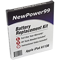 Battery Replacement Kit for Apple iPod Video A1136 with Installation Video, Tools, and Extended Life Battery.