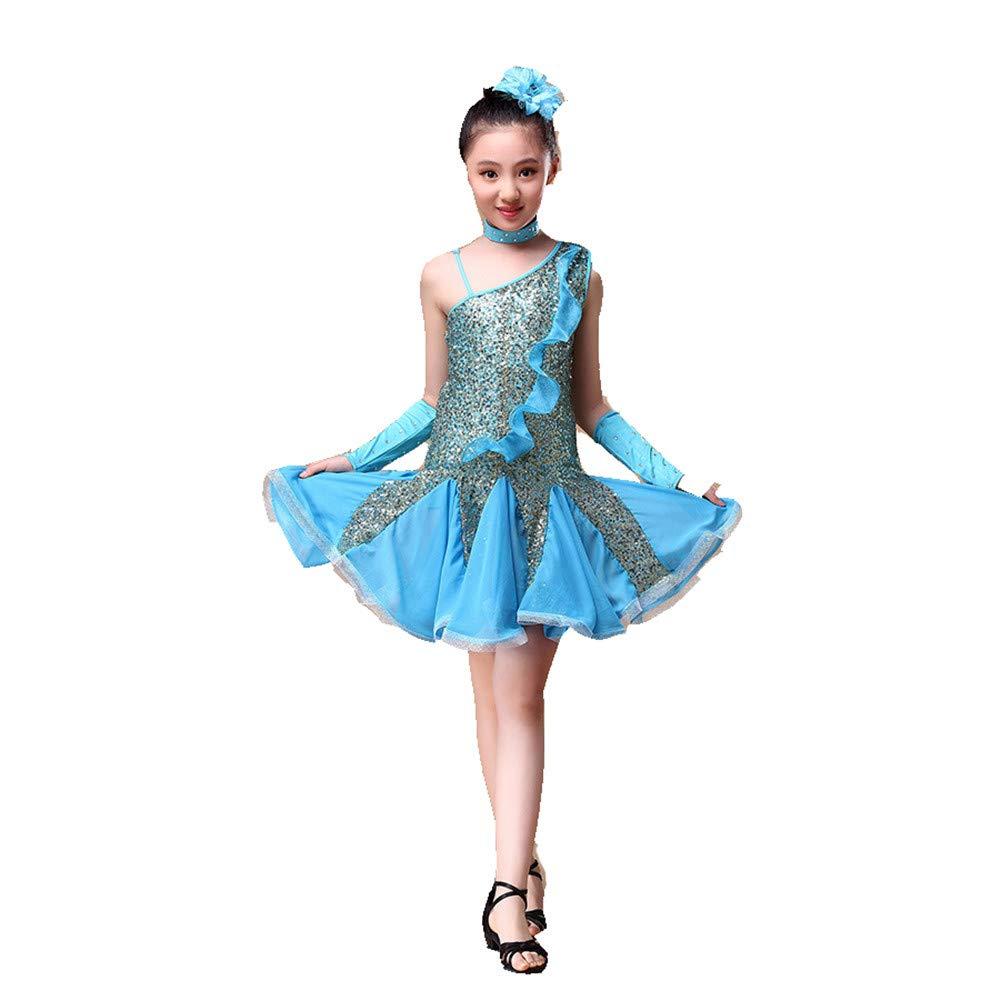 Bleu Ciel Robe de danse pour filles, Enfants Filles Danse Latine Robe Rumba Samba Salle De Danse Perforhommecewear Compétition Danse Costume Robe Outfit avec Main Manches Coiffure ( Couleur   Rouge , Taille   L ) Large