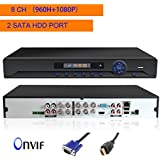 Security DVR, JOOAN 8 Channels H.264 Network Full D1 960H Motion Detection 8CH DVR CCTV Surveillance Security System Digital Video Recorder with 2 hard drive port