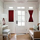 NICETOWN Blackout French Door Curtains - Thermal Insulated Sidelight Curtain Panel - One Panel 25W by 40L Inches - Burgundy