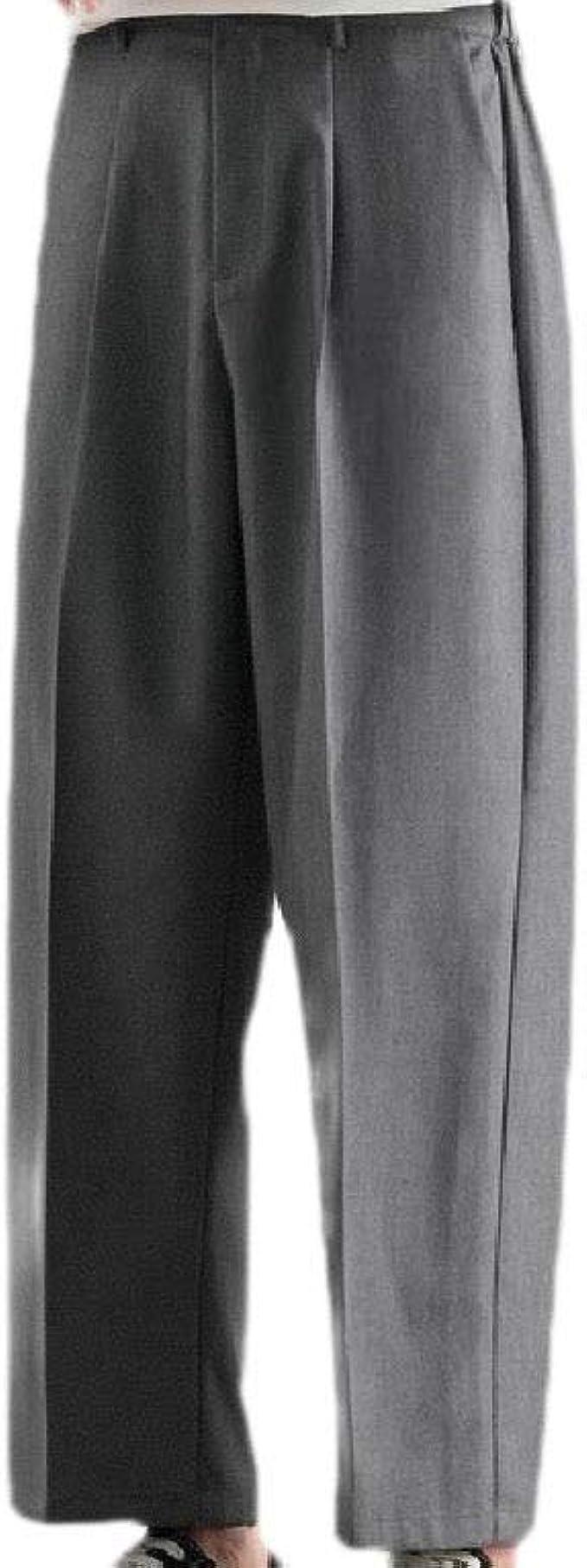 Kankanluck ポケットソリッドファッション弾性ウエストビジネススーツパンツでメンズラッフル