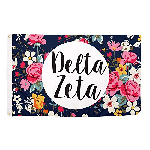 Delta Zeta Floral Pattern Sorority Flag Greek Use as a Banner 3 x 5 Feet Sign Decor dz