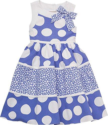 Rare Editions Little Girls 2T-6X Blue White Bow Shoulder Polka Dot Cotton Dress (5, Periwinkle Blue)