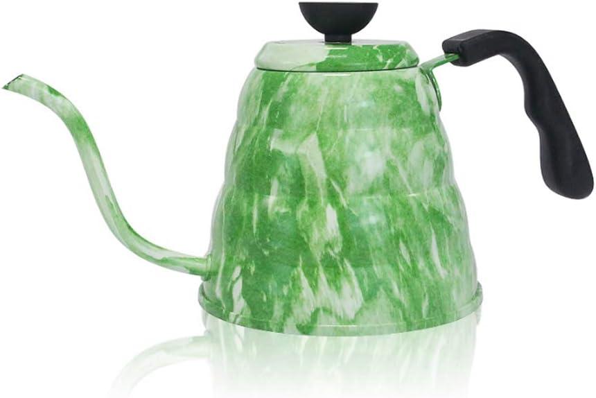 1.2L Cloud Pot 304 Acero inoxidable Fino Caldera de pico largo con termómetro Hand Punch Cafetera,Green