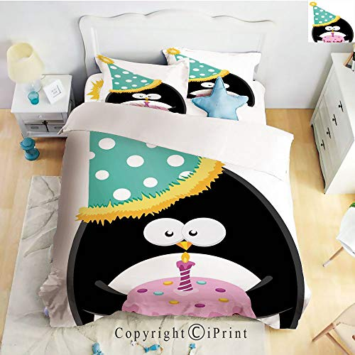 Homenon Bedding 4 Piece Sheet Set,deep Pocket Fitted Sheet,Flat Sheet,2 Pillow Cases,Adorable Funny Peinguin with Party Hat and Cake Newborn Cartoon Style,Multicolor,Twin Size
