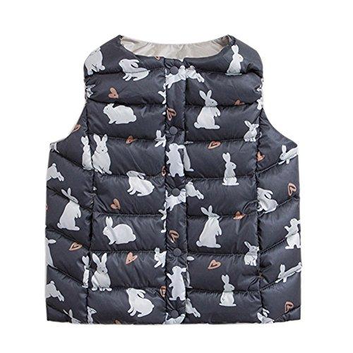 marc janie Baby Boys Girls Kids' Outerwear Ultra Light Down Vest 3T Rabbit (Nylon Print Vest)