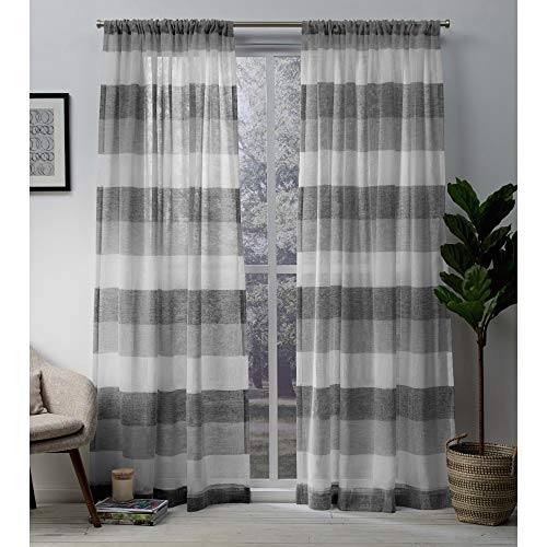 Exclusive Home Curtains Bern Stripe Sheer Window Curtain Panel Pair with Rod Pocket, 54x96, Ash Grey, 2 Piece