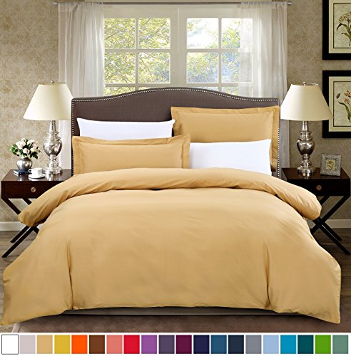 Duvet Gold Set (SUSYBAO 100% Natural Cotton 3 Pieces Duvet Cover Set Queen Size 1 Duvet Cover 2 Pillow Shams Solid Gold Luxury Quality Soft Breathable Durable Comfortable Fade Stain Resistant Bedding with Zipper Ties)
