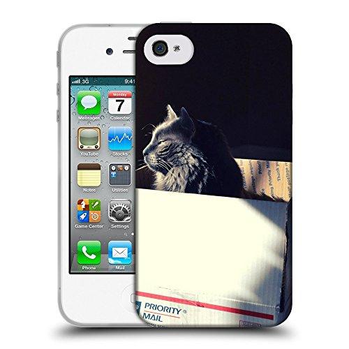 Just Phone Cases Coque de Protection TPU Silicone Case pour // V00004185 somnolent chat noir dans une boîte // Apple iPhone 4 4S 4G