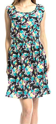 Betusline Mignon Robe Réservoir Sans Manches Femmes Floral Mousseline Imprimée 2 # Floral Robe D'été