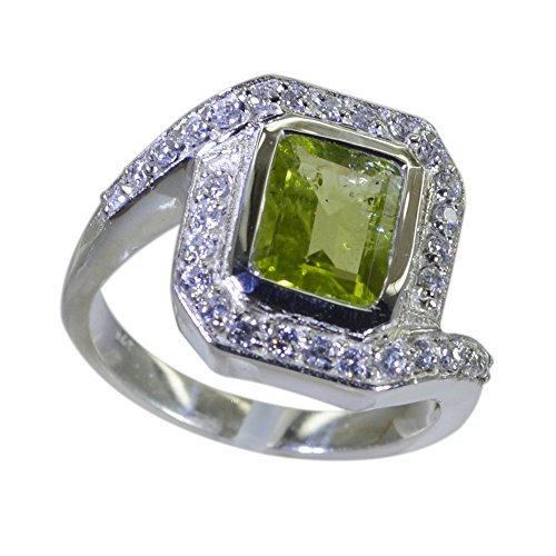 Natural Peridot Ring For Women Sterling Silver Square Shape Birthstone Handmade Size 4,5,6,7,8,9,10,11,12 ()