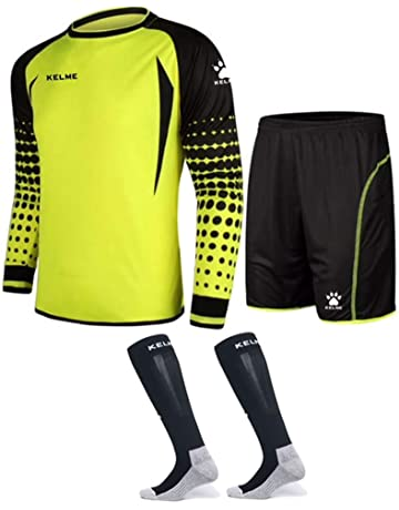 Goalkeeper Shirt Uniform Bundle - Includes Jersey, Shorts & Socks - Protection Pads on Shorts