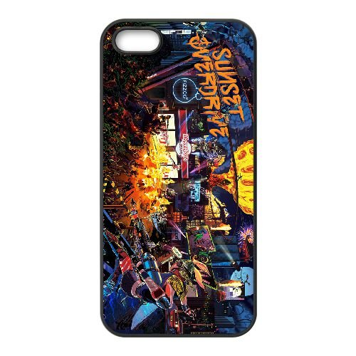 Sunset Overdrive 10 coque iPhone 4 4s cellulaire cas coque de téléphone cas téléphone cellulaire noir couvercle EEECBCAAN05680