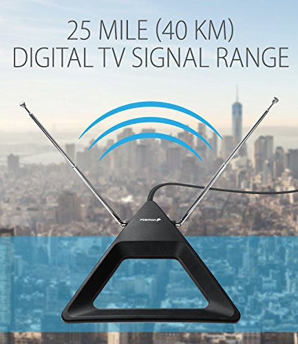 HDTV Antenna 25 Miles Range, Fosmon Indoor Rabbit Ear TV Antenna, Retractable Dipoles [Wall Mountable or Tabletop] with 5FT Cable Connector