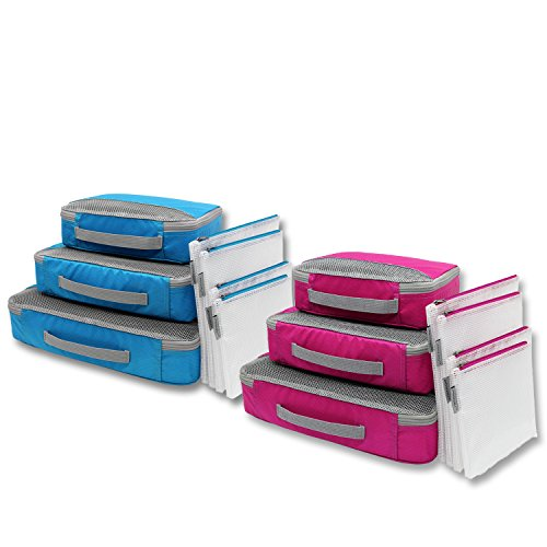 JADINVALI Packing Cubes Luggage Organizer Travel Packing Organizers Lightweight Trave Cube Set Luggage Cubes Travel Storage Bags with Laundry Toiletry Shoe Bags Organizers(Fuxia/Turquoise) (Cube Sized)