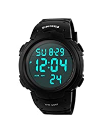 LIGE Mens Digital Sport Watch with Backlight,Waterproof Alarm Chronograph Electronic Wristwatch