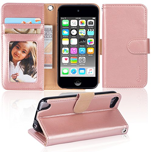 Ipod touch 6 Case, iPod touch 5 case,Arae [Wrist Strap] Flip Folio [Kickstand Feature] PU leather wallet case with ID&Credit Card Pockets For Apple ipod touch 6 / touch 5 (rosegold)