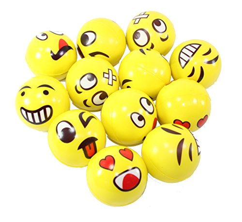 Set of 12 Assorrted Big Happy Face Fun Emoji Hand Wrist Finger Exercise Stress Relief Therapy Squeeze Ball ... (12 Pack)