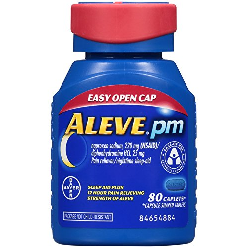 Aleve PM Easy Open Cap Caplets, Naproxen Sodium 220 mg (NSAID)/diphenhydramine HCl 25 mg, Pain Reliever/Nighttime Sleep-Aid, Non-Habit Forming, 80 Count