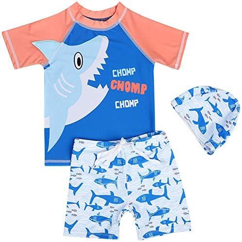 ボーイズ3点セット水着 子供用温泉服 キッズ トップス+ボトムス+帽子 半袖ビーチウェア 鰐/鮫 鮫 8ヤード