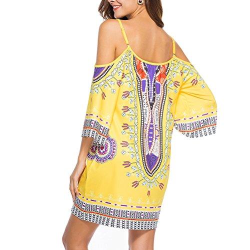 Zhhlinyuan Vintage Floral 美しい 女性のドレス Mini Dress Milk Silk Off Shoulder Printed Skirts Casual Beach Sundress for Women