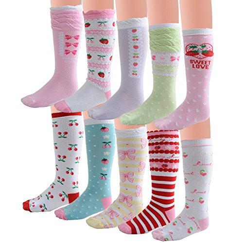 Deer Mum Girl's Princess Style Knee High Cotton Socks (Knee Socks Girls)