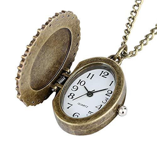 ZJZ Vintage fickur, vintage fickur oval liten storlek damklockor med halsband hänge klocka presenter