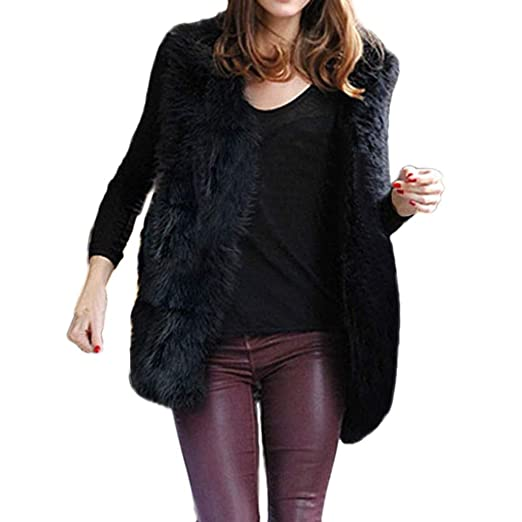 Discount Womens Coats KpopBaby Winter Faux Fur Sleeveless Vest Waistcoat Jacket Coat Outwear