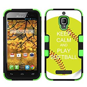 One Tough Shield ? Hybrid-Layer Protector Phone Case for Alcatel One Touch Fierce 7024W - (Keep Calm / Softball Green)