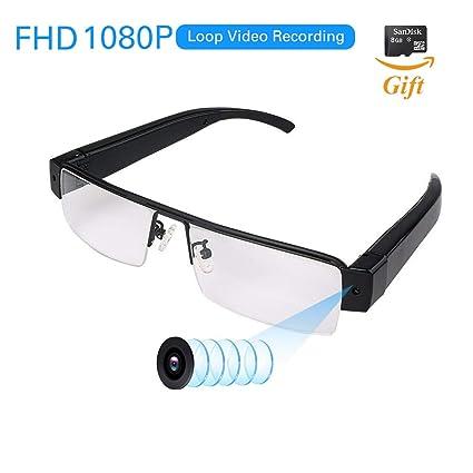 ed843dafed2 FHD 1080P Wearable Camera with Video Recording Mini Spy Camera Sunglasses,  Mini DVR Camcorder Loop