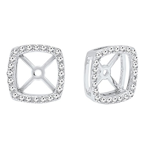0.30 Carat (ctw) 10K White Gold Round White Diamond Removable Jackets For Stud Earrings 1/3 CT by DazzlingRock Collection