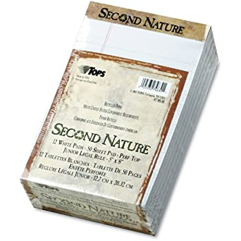 R Pack Of 12 Second Nature 100/% Recycled 15-Lb Writing Pads Tops x 8in. White R 5in