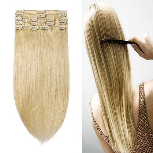 10-22inch Clip in Remy Human Hair Extensions Grade 7A Thick to End Full Head Natural Hair Long Straight 8 Pieces 18clips 95g 16